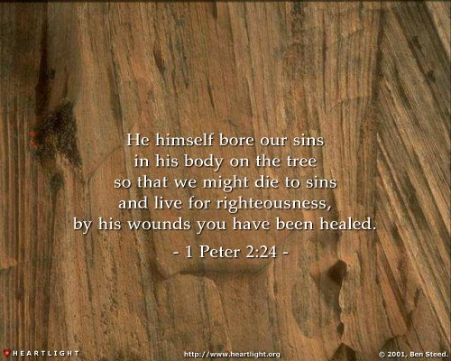 He himself bore our sins in his body on the tree, that we might die to sin and live to righteousness. By his wounds you have been healed.  1 Peter 2:24